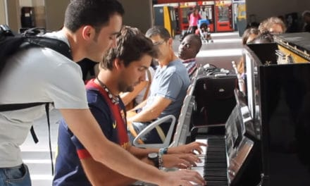 Two Travelers Improvise on a piano at the train station in paris